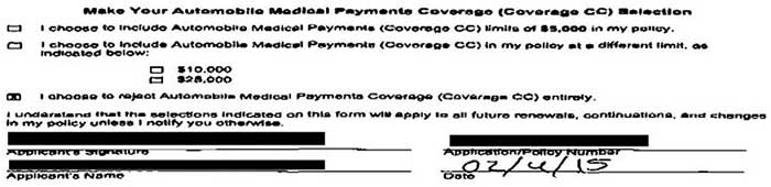 Picture of automobile medical payments coverage selection