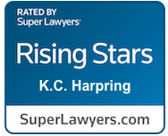 Logo of SuperLawyers Rising Stars K.C. Harpring