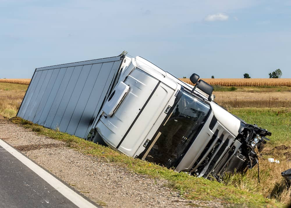 Picture of truck in ditch